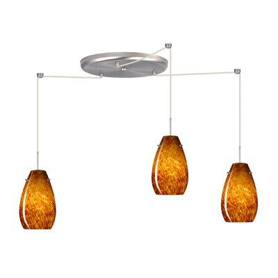 Pera 3 Light Pendant Finish: Satin Nickel, Glass Shade: Amber Cloud, Bulb Type: LED