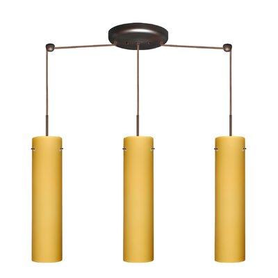 Stilo 3 Light Linear Pendant Finish: Bronze, Glass Shade: Vanilla Matte, Bulb Type: LED