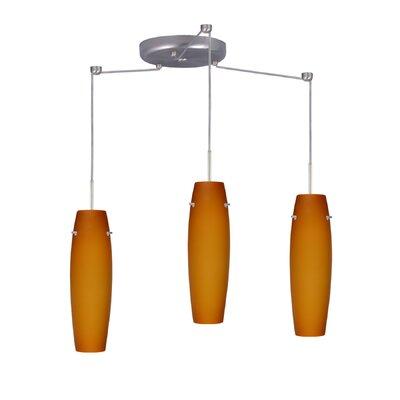 Suzi 3 Light Mini Pendant Finish: Satin Nickel, Glass Shade: Amber Matte, Bulb Type: LED