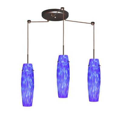 Suzi 3 Light Mini Pendant Finish: Bronze, Glass Shade: Blue Cloud, Bulb Type: LED