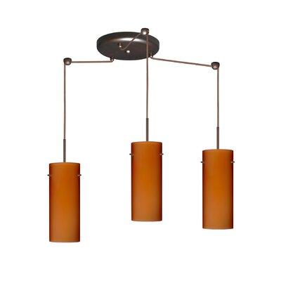Stilo 3 Light Mini Pendant Finish: Bronze, Glass Shade: Amber Matte, Bulb Type: LED