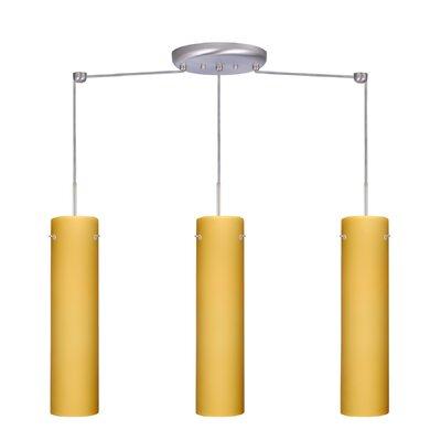 Stilo 3 Light Linear Pendant Finish: Satin Nickel, Glass Shade: Vanilla Matte, Bulb Type: LED