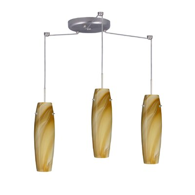 Suzi 3 Light Mini Pendant Finish: Satin Nickel, Glass Shade: Honey, Bulb Type: LED