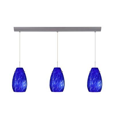Pera 3 Light Pendant Finish: Satin Nickel, Glass Shade: Blue Cloud