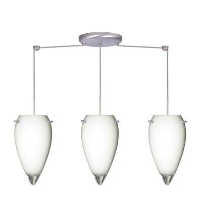 Juli 3 Light Linear Pendant Finish: Satin Nickel, Glass Shade: Opal Glossy, Bulb Type: Incandescent