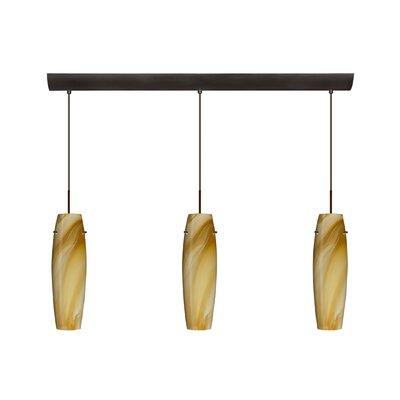 Suzi 3 Light Mini Pendant Finish: Bronze, Glass Shade: Honey, Bulb Type: LED