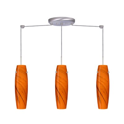 Suzi 3 Light Linear Pendant Finish: Satin Nickel, Glass Shade: Habanero, Bulb Type: Incandescent