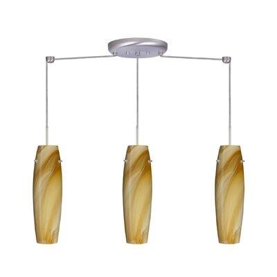 Suzi 3 Light Mini Pendant Finish: Satin Nickel, Glass Shade: Honey