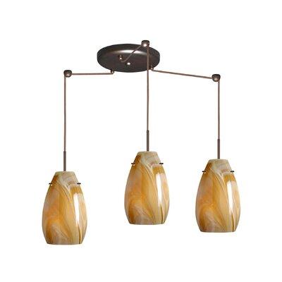 Pera 3 Light Pendant Finish: Bronze, Glass Shade: Honey