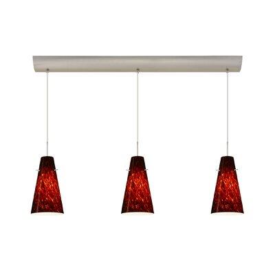 Cierro 3 Light Pendant with Bar Canopy Finish: Satin Nickel, Glass Shade: Garnet