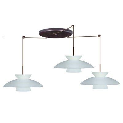 Trilo 3 Light Pendant Finish: Bronze, Glass Shade: Frost, Bulb Type: Incandescent