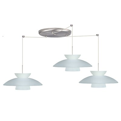 Trilo 3 Light Pendant Finish: Satin Nickel, Glass Shade: Frost, Bulb Type: LED