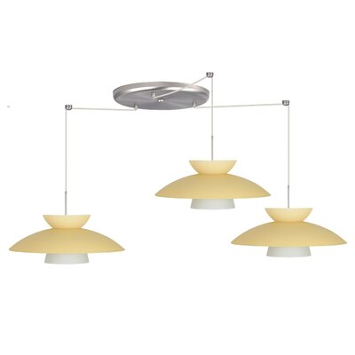 Trilo 3 Light Pendant Finish: Satin Nickel, Glass Shade: Champagne, Bulb Type: LED
