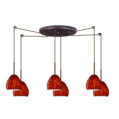 Bolla 6 Light Mini Pendant Finish: Bronze, Glass Shade: Garnet, Bulb Type: Halogen