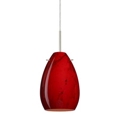 Pera 1 Light Mini Pendant Bulb Type: Incandescent, Finish: Satin Nickel, Glass Shade: Magma