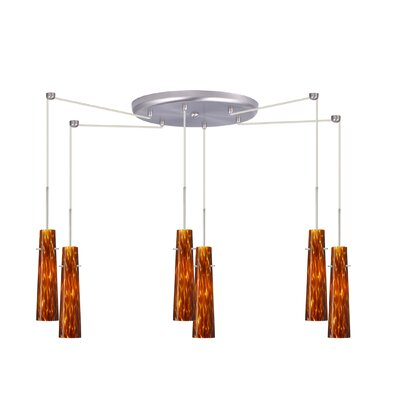Camino 6 Light Pendant Finish: Satin Nickel, Glass Shade: Amber Cloud, Bulb Type: Incandescent or Xenon