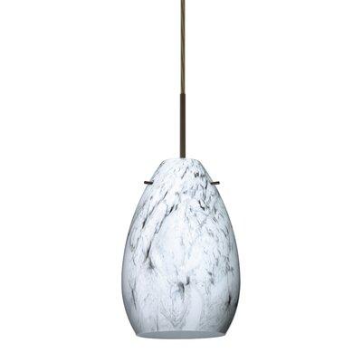 Pera 1 Light Mini Pendant Bulb Type: Halogen, Finish: Bronze, Glass Shade: Marble Grigio