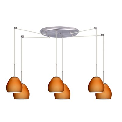 Bolla 6 Light Mini Pendant Finish: Satin Nickel, Glass Shade: Amber Matte, Bulb Type: Incandescent or Xenon