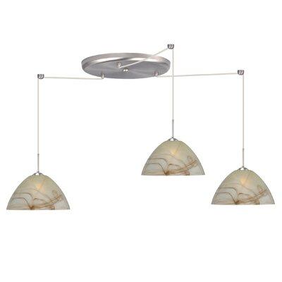 Tessa 3 Light Pendant Finish: Satin Nickel, Glass Shade: Mocha, Bulb Type: Incandescent