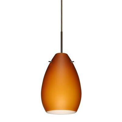 Pera 1 Light Mini Pendant Bulb Type: Incandescent, Finish: Bronze, Glass Shade: Amber Matte