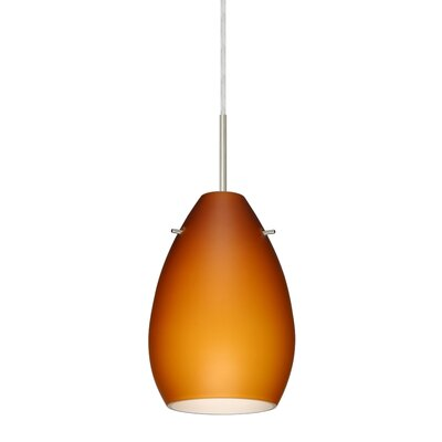 Pera 1 Light Mini Pendant Bulb Type: Incandescent, Finish: Satin Nickel, Glass Shade: Amber Matte