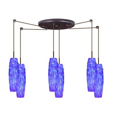 Suzi 6 Light Mini Pendant Finish: Bronze, Glass Shade: Blue Cloud, Bulb Type: LED
