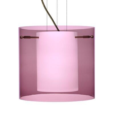 Pahu 1-Light Mini Pendant Finish: Brushed Bronze, Shade Color: Amethyst, Size: 11.75 H x 15.75 W x 15.75 D