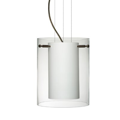 Pahu 1-Light Mini Pendant Finish: Brushed Bronze, Shade Color: Clear, Size: 9.88 H x 7.88 W x 7.88 D