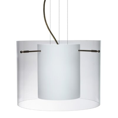 Pahu 1-Light Mini Pendant Finish: Brushed Bronze, Shade Color: Clear, Size: 11.75 H x 15.75 W x 15.75 D