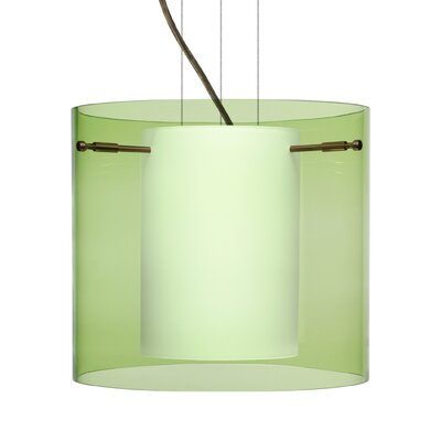 Pahu 1-Light Mini Pendant Finish: Brushed Bronze, Shade Color: Olive, Size: 10.63 H x 11.75 W x 11.75 D