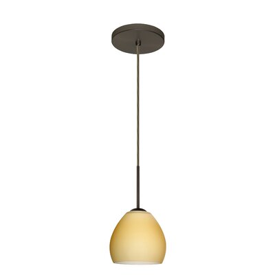 Bolla 1-Light Mini Pendant Bulb Type: Xenon or Incandescent, Finish: Bronze, Glass Shade: Vanilla Matte
