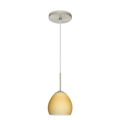 Bolla 1-Light Mini Pendant Bulb Type: Xenon or Incandescent, Finish: Satin Nickel, Glass Shade: Vanilla Matte