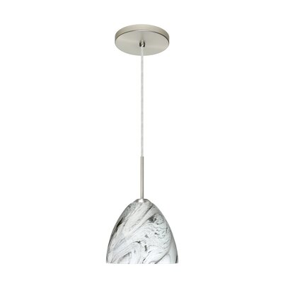 Sasha II 1-Light Mini Pendant Finish: Satin Nickel, Glass Shade: Marble Grigio, Bulb Type: LED