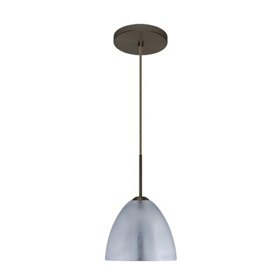 Sasha II 1-Light Mini Pendant Finish: Bronze, Glass Shade: Silver Foil, Bulb Type: LED