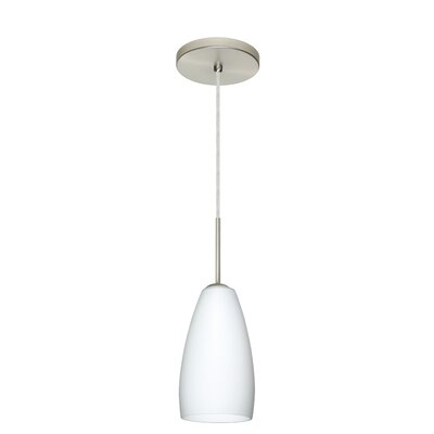 Chrissy 1-Light Mini Pendant Bulb Type: Xenon or Incandescent, Finish: Satin Nickel, Glass Shade: Opal Matte