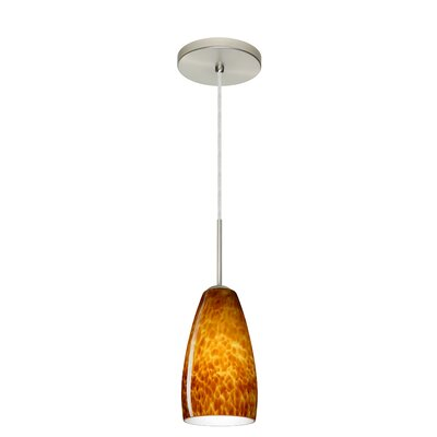 Chrissy 1-Light Pendant Finish: Satin Nickel, Glass Shade: Amber Cloud, Bulb Type: Incandescent or Xenon
