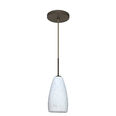 Chrissy 1-Light Pendant Finish: Bronze, Glass Shade: Carrera, Bulb Type: Incandescent or Xenon