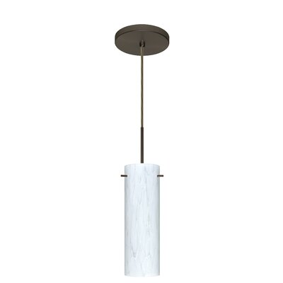 Copa 1-Light Mini Pendant Finish: Bronze, Glass Shade: Carrera, Bulb Type: LED