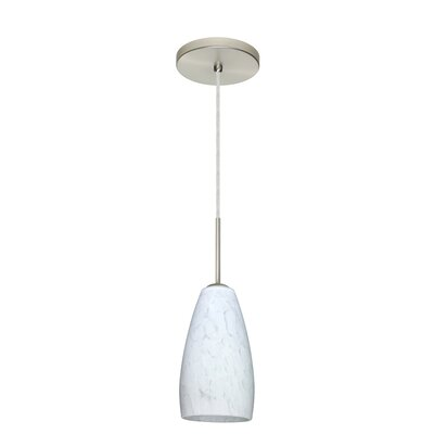 Chrissy 1-Light Pendant Finish: Satin Nickel, Glass Shade: Carrera, Bulb Type: Incandescent or Xenon