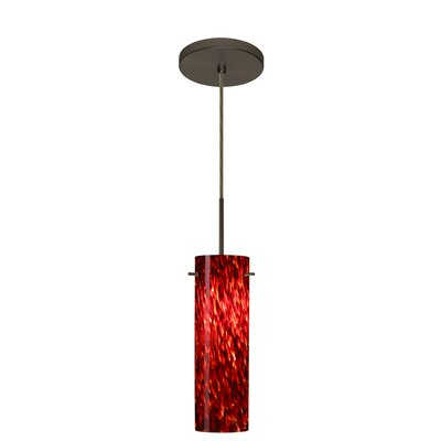Copa 1-Light Mini Pendant Finish: Bronze, Glass Shade: Garnet, Bulb Type: Incandescent or Xenon