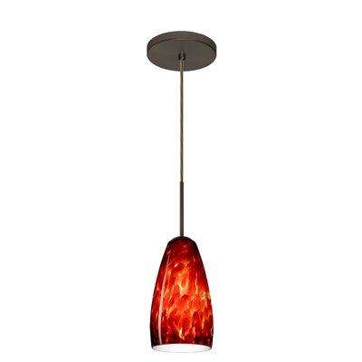 Chrissy 1-Light Pendant Finish: Bronze, Glass Shade: Garnet, Bulb Type: Incandescent or Xenon