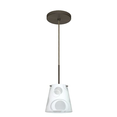Amelia 1-Light Mini Pendant Finish: Bronze, Glass Shade: Cosmic, Bulb Type: Xenon or Incandescent