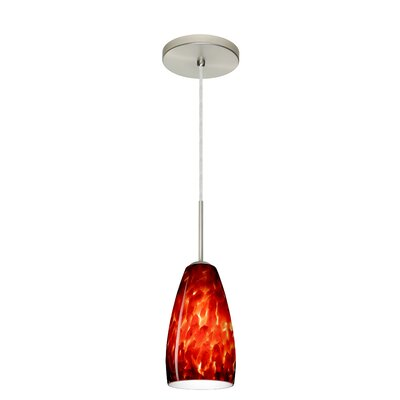 Chrissy 1-Light Pendant Finish: Satin Nickel, Glass Shade: Garnet, Bulb Type: Incandescent or Xenon