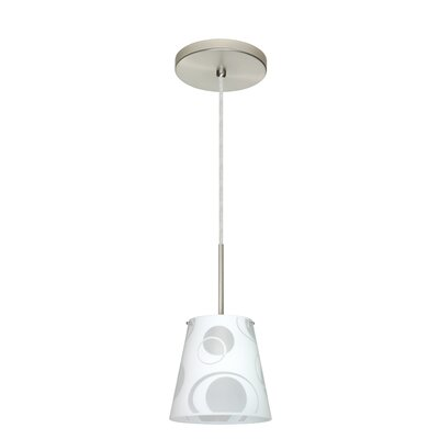 Amelia 1-Light Mini Pendant Finish: Satin Nickel, Glass Shade: Cosmic, Bulb Type: Xenon or Incandescent
