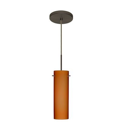 Copa 1-Light Mini Pendant Finish: Bronze, Glass Shade: Amber Matte, Bulb Type: Incandescent or Xenon