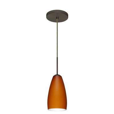 Chrissy 1-Light Pendant Finish: Bronze, Glass Shade: Amber Matte, Bulb Type: Incandescent or Xenon
