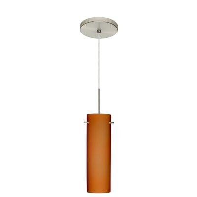 Copa 1-Light Mini Pendant Finish: Satin Nickel, Glass Shade: Amber Matte, Bulb Type: Incandescent or Xenon