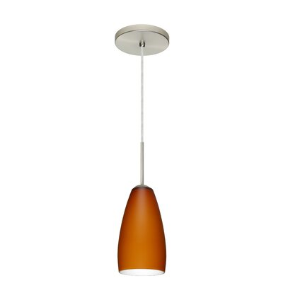 Chrissy 1-Light Pendant Finish: Satin Nickel, Glass Shade: Amber Matte, Bulb Type: Incandescent or Xenon