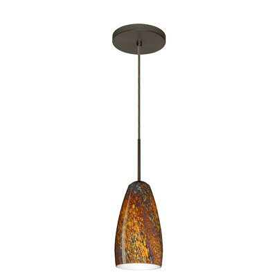 Chrissy 1-Light Pendant Finish: Bronze, Glass Shade: Ceylon, Bulb Type: Incandescent or Xenon
