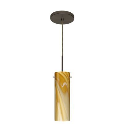 Copa 1-Light Mini Pendant Finish: Bronze, Glass Shade: Honey, Bulb Type: Incandescent or Xenon